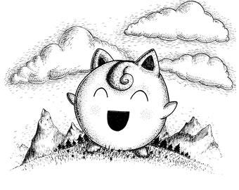Jigglypuff- A4 (approx 8x12) pokemon inspired art print by Jon Turner- cute geeky artwork- FREE WORLDWIDE SHIPPING