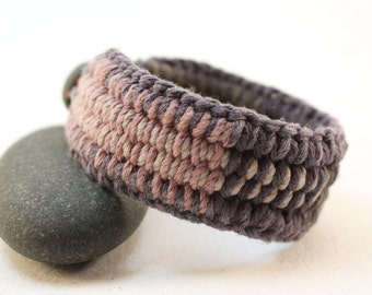 layered color interweave cuff bracelet with rainbow accents cotton fiber bracelet handcrafted cuff 4358