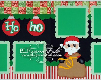 2 Premade Christmas Scrapbook Pages 12x12 Layout Paper Piecing Santa Christmas Handmade 001