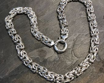 """18"""", 11mm, Sterling silver Birdcage chain, solid 925 silver byzantine necklace, stamped 925"""