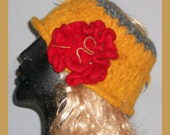 HAT  WOMEN KNITTED Felted Women Girls Teens Moms Sisters Gift Xmas Large Flower