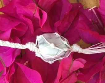 White, macrame, braided, genuine howlite, tassle necklace