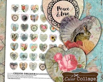 Boho Heart Digital Collage Sheet, 25mm Hearts, Images for Pendants, Heart Cabochons, Printable Download, Digital Sheet, Printable Paper