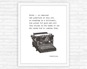 English Major gift, Literary gift print, literary quotes, typewriter typography, graduation gift