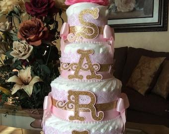 Elegant Pink and gold diaper cake/Elegant baby shower Centerpiece/Pink damask diaper cake/