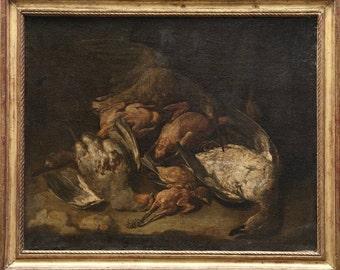 Antique Jan Fyt 17c Bentvueghel Flemish Baroque Old Master Game Birds Partridge Kingfisher Mallard Still Life Original European Oil Painting