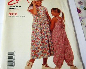 McCall's 8018  Children's and Girls' Jumper and Jumpsuit Size 7,8,10,12,14 Children  Vintage 1996