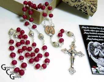 Flower Bead Our Father Beads- Rose Petal Bead Memory Rosary-  Example of a Custom Rosary