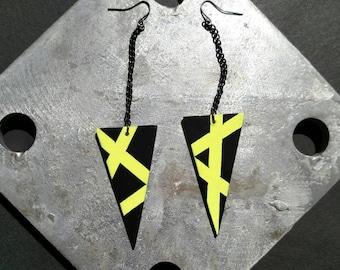 Triangle Earrings, Hand Painted Earrings, Neon and Black Earrings, Neon Green Earrings, Black Earrings, Long Dangle Earrings, Wood Earrings