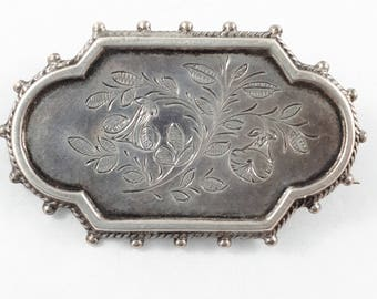 Antique Victorian Silver Aesthetic Movement Brooch circa 1880