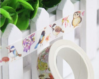 Roll of adorable masking tape with cute animals - Washi tape bird