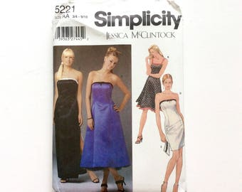Simplicity 5221 Juniors' Evening Gown and Purse Pattern, Prom Dress, Size 3/4 -9/10, Uncut