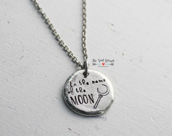 In The Name Of The Moon Hand Stamped Necklace | Hand Stamped Jewelry | Sailor Moon Jewelry | Crescent Moon Jewelry | Otaku Necklace | Anime