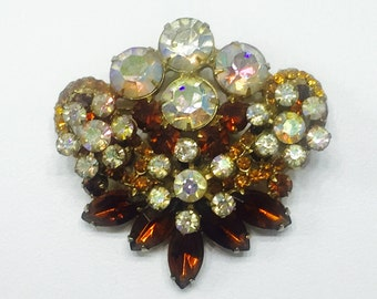 JULIANA DIMENSIONAL BROOCH verified D and E Autumnal 1950's Delizza  Elster, Amber Gold Iridescent Rhinestones / Costume Jewelry Jd2-150