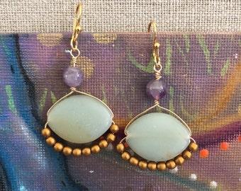 boho impression jasper earrings amethyst fun sage purple
