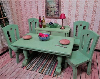 "Strombecker Wooden Dollhouse Furniture - Complete Green Dining Room from 1934 - 1"" Scale"
