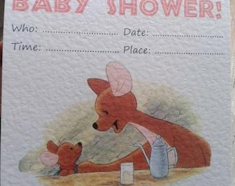 Handmade Kanga and Roo Baby Shower Invitations Pack of 10