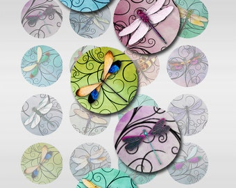 Dragonfly Swirls Pastel Watercolor Paper Instant Download 1, 1.25, 1.50 Inch Digital Jpeg Images Round Circles (C-1)