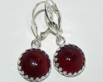 Carnelian Earrings Carnelian Dangle Earrings Carnelian Cabochon Earrings Carnelian Drop Earrings