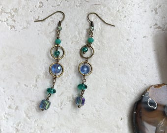 Drop earrings in blue shades Boho jewelry Gift for her