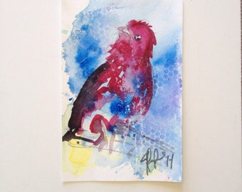 Red Bird original watercolor painting