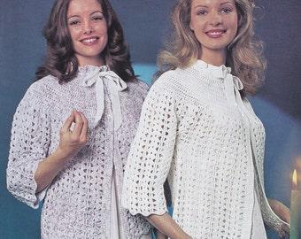 Women bed jacket vintage crochet bedjacket pattern crocheted pdf INSTANT download pattern only