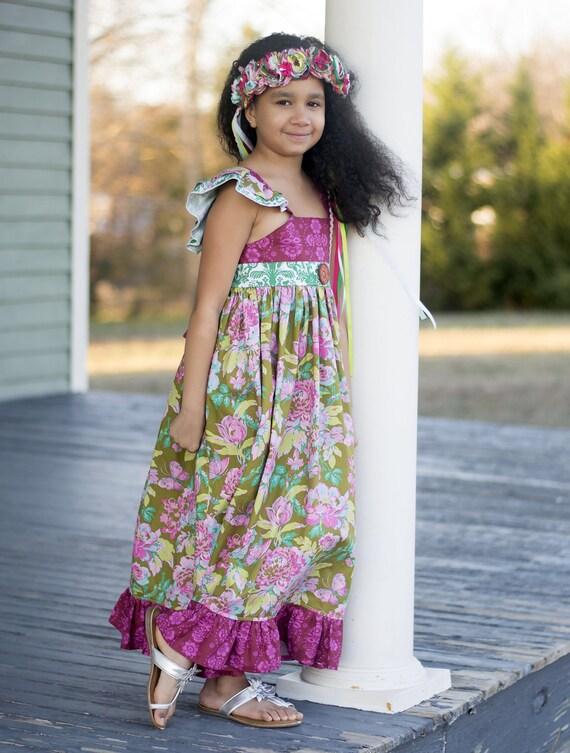 Girls Floral Maxi Dress - Purple Boho Maxi Dress - Floral Boho Maxi - Boho Dress