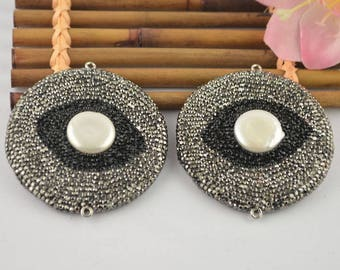 New 5PCS Rhinestone Evil Eye Pendant Trendy Turkish Jewelry Nature Pearl Eyes Connector & Pendant Beads For Men or Women