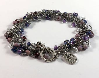 Lavender shaggy bracelet - beaded chainmaille bracelet