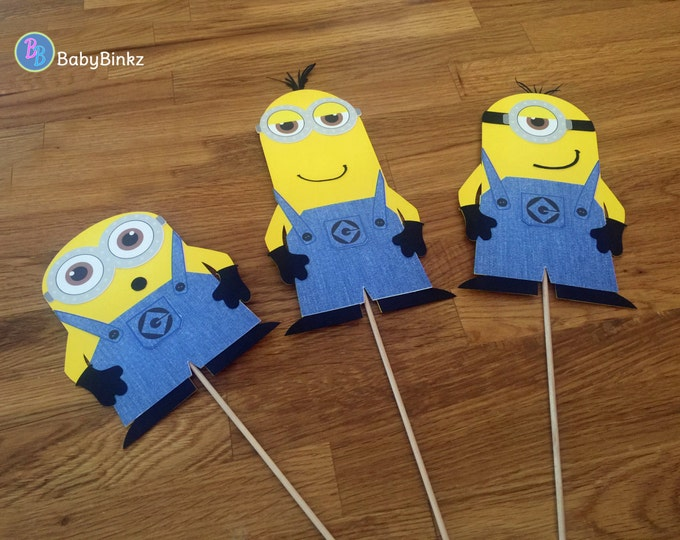 Photo Props: Minion Trio Stuart Kevin Bob inspired despicable me birthday party decoration halloween centerpiece
