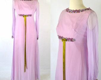 1970s Lavender Purple Romantic Empire Waist Dress With Matching Mid-Length Veil