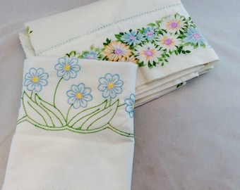 Vintage Twin Sheet Set White with Blue Flowers, Blue Flowered Twin Sheet and Pillowcase