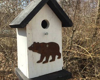 Full functional Birdhouse Functional Primitive White and Black Rusty Bear Cutout Handcrafted