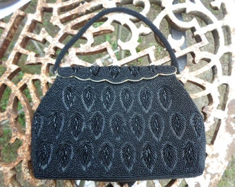 Vintage 1960s Leaf Like Pattern Black Glass Beaded Handbag With Mirror and Change Purse Clamp Top Stunning