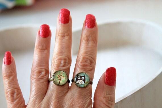 Set 2 rings owl and tree romantic feminine sweet cute
