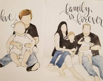 Customized Watercolor Family Portrait