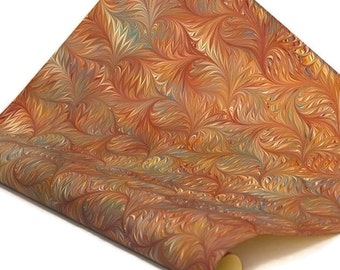 Hand-Marbled Paper Imported From Italy - Bird Wing - Green/Blue/Red