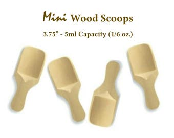 """12 Wooden Mini 3.75"""" Scoops Excellent for Sugar Scrub, Salt Scrub, Candy Buffet, Coffee, Party Favors, Wedding Favors Natural, Eco-Friendly"""