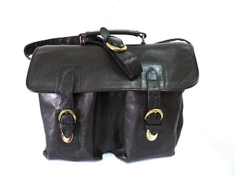 Vintage Black Leather Messenger Briefcase Laptop MacBook Pro Crossbody Satchel Shoulder Bag