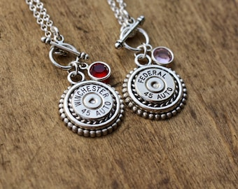 Multiple Choice Bullet 45 Auto Necklace-Winchester 45 Auto Bullet-Federal 45 Auto-Swarovski-Toggle Bullet Necklace-Remington Peters Necklace