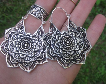 large sterling silver bohemian decorative mandala earrings FLOWER gypsy boho