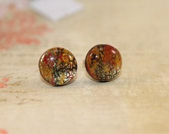 Gold and red stud earrings