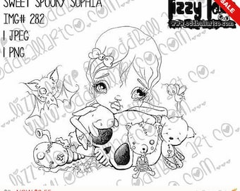 INSTANT DOWNLOAD Creepy Cute Big Eye Beautiful Monsters Digital Stamp - Sweet Spooky Sophia Image No. 282 by Lizzy Love