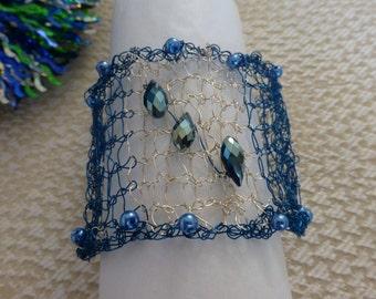 Cuff wire bracelet; Blue and silver wire cuff bracelet; Women's wide bracelet