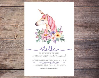 Unicorn Birthday Invitation, Birthday Invite, Floral, Print at Home Birthday Invitation, Digital File, Girl birthday invite - Stella