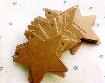 BROWN star shape gift tags / Plain gift tags / cardboard tags in set of 50