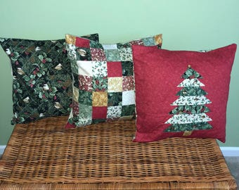 Three Festive Christmas Pillow Covers - 18 X 18 inch