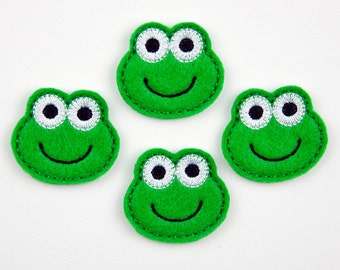 FROG - Embroidered Felt Embellishments / Appliques - Green  (Qnty of 4) SCF6085