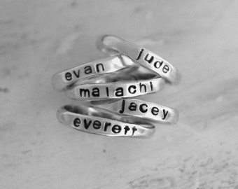 personalized stackable name rings sterling silver 925- hand-stamped customized word ring - custom stacking mother stack ring set jewelry