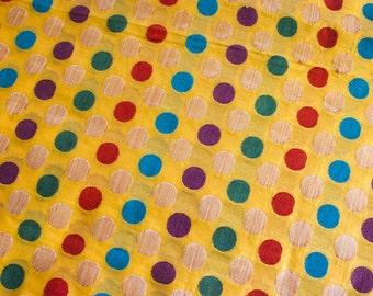 Polka fun - 1 yard of Silk Brocade Fabric in Vibrant yellow Colorful Polka dots